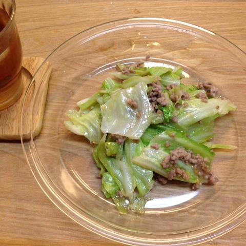 キャベツと挽肉の味噌炒め
